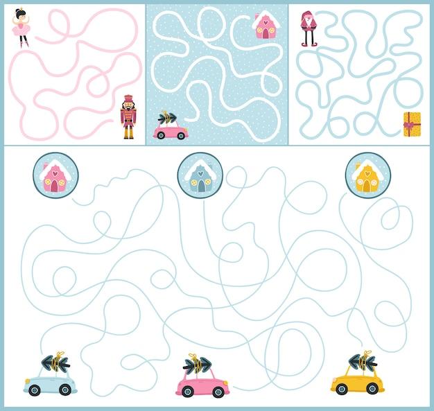 Kerst doolhof pad set van games met elementen en grappige karakters. volg het pad. bordspel voor de ontwikkeling van kinderen. fijne vakantie.