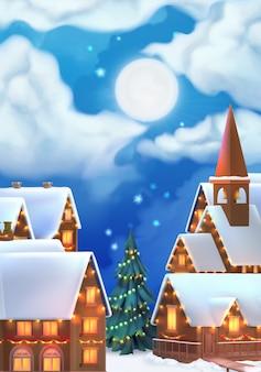 Kerst dorp achtergrond.