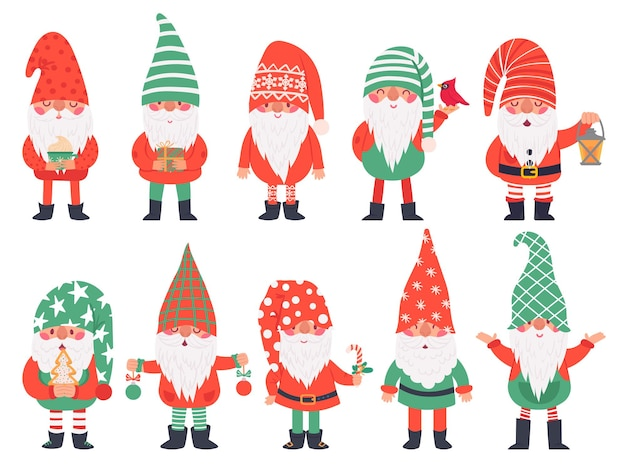 Kerst dwergen. grappige fantastische kabouters in rode kostuums, kerstkabouter met lantaarn traditionele decoratie, wintervakantie vectorkarakters. illustratie kerst dwerg karakter collectie