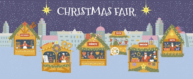 Kerst eerlijke horizontale vector banner. winternacht stadsgezicht met verschillende winkels.