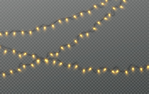 Kerst elektrische slinger van gloeilampen geïsoleerd op een transparante achtergrond. vectorillustratie eps10