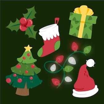 Kerst element collectie in plat design