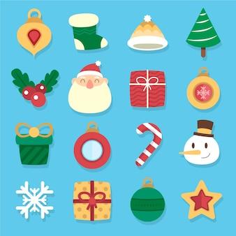 Kerst element collectie plat ontwerp