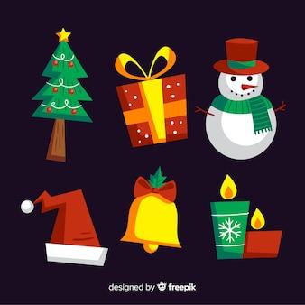 Kerst elementen collectie in hand getrokken stijl