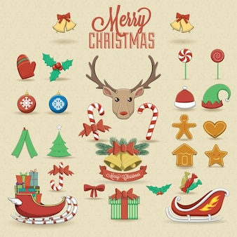 Kerst elementen en pictogrammen vector illustratie