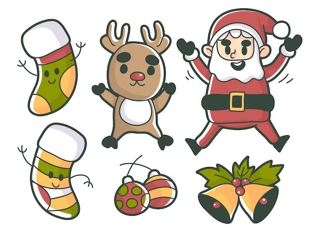 Kerst elementen en tekens premium vector