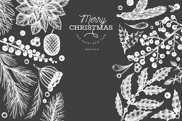 Kerst elementen, getrokken witte hand