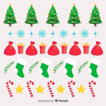 Kerst elementen grens pack