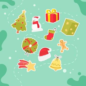 Kerst elementen in plat ontwerp