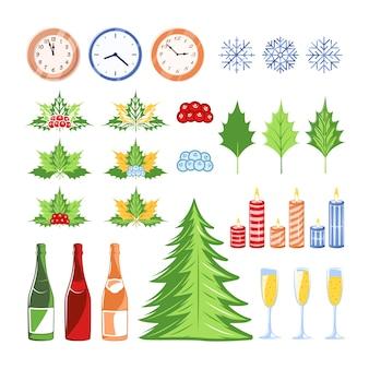Kerst elementen instellen geïsoleerd. kerst concept. ontwerpelementen voor kerstmis. cartoon stijl. plat ontwerp.