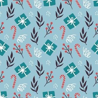 Kerst elementen naadloze patroon met geschenkdoos, bloemen, snoep.