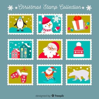 Kerst elementen postzegels