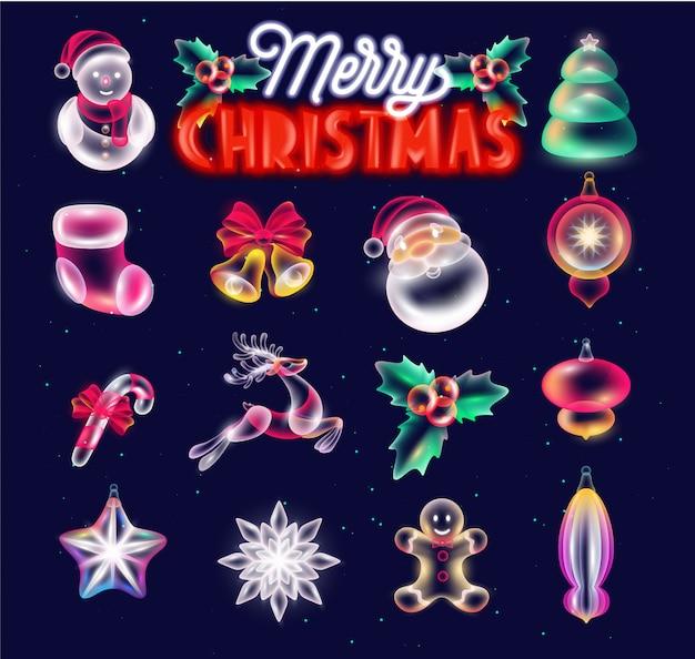 Kerst elementen set met neon stijl