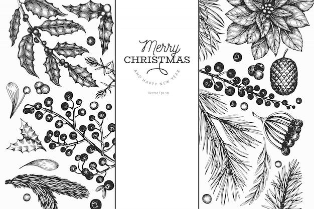 Kerst elementen, zwarte hand getrokken
