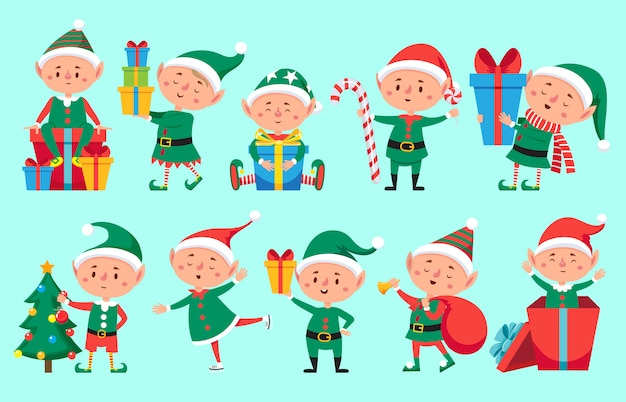 Kerst elf karakter. leuke santa claus-helpers. grappige winter baby dwerg set