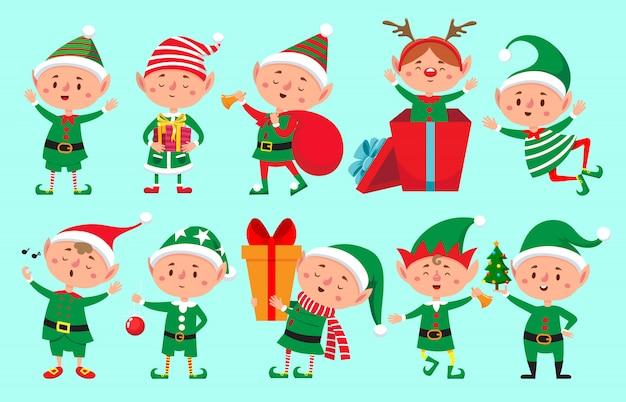 Kerst elf karakter. santa claus-helpers, schattige dwergelfjes grappige karakters
