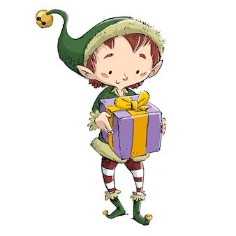 Kerst elf met cadeau