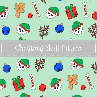 Kerst elf schedelpatroon