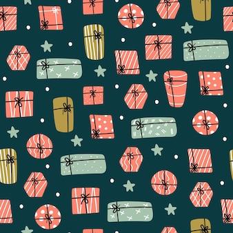 Kerst en gelukkig nieuwjaar patroon met leuke cadeaus en sterren