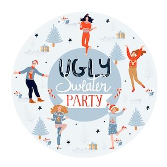 Kerst en gelukkig nieuwjaar poster sjabloon op lelijke trui feest