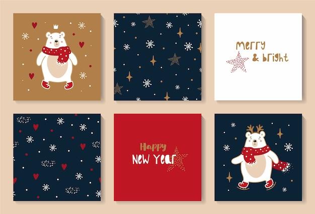 Kerst en gelukkig nieuwjaar set kaarten met schattige kerstberen.