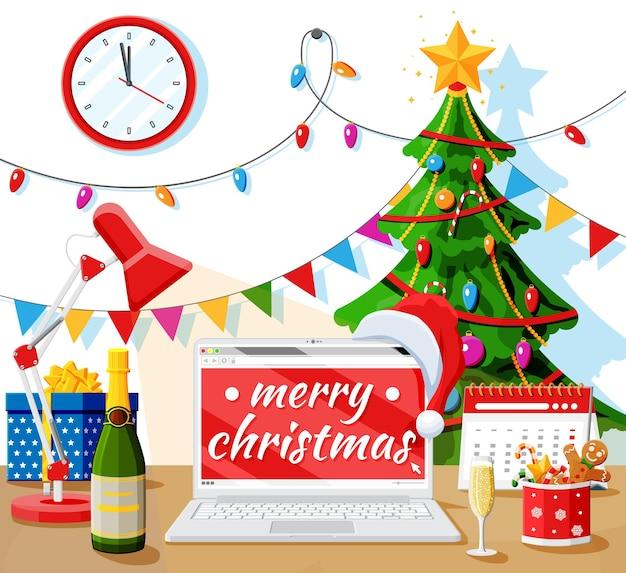 Kerst en nieuwjaar bureau werkruimte