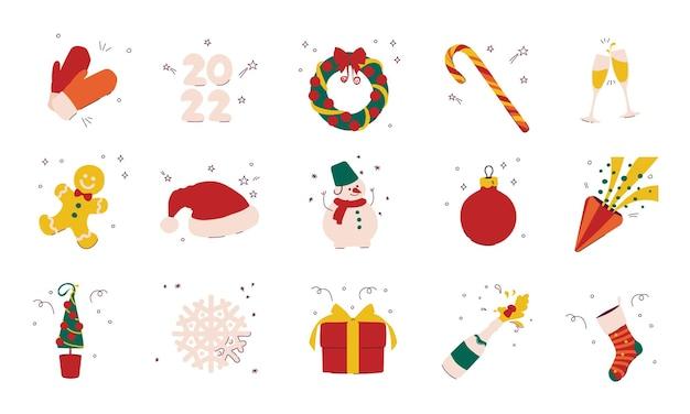 Kerst en nieuwjaar element cadeau sneeuwpop krans sneeuwvlok champagne peperkoek man