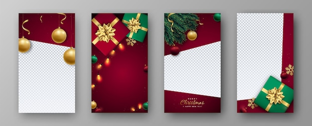 Kerst en nieuwjaar set sjabloon voor instastories
