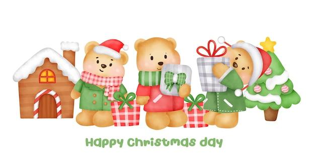 Kerst- en nieuwjaarsbanner met een schattig berenkarakter in aquarelstijl.