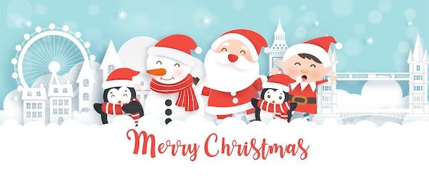 Kerst- en nieuwjaarsbanner met schattige kerstman en vrienden in papierstijl.
