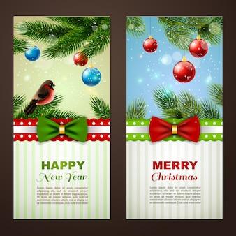 Kerst- en nieuwjaarsdagkaarten met klassieke groetenkaarten