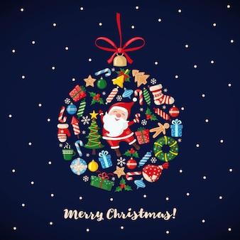 Kerst- en nieuwjaarskaart in de vorm van een kerstbal in vlakke stijl. traditionele symbolen. vector illustratie.