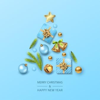 Kerst- en nieuwjaarskaart met kerstboom gevormd realistische kerstversieringen