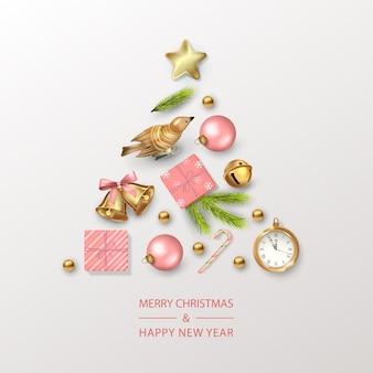 Kerst- en nieuwjaarskaart met kerstboom samengesteld uit feestelijke decoraties