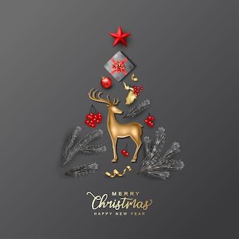 Kerst- en nieuwjaarskaart met kerstboom samengesteld uit realistische feestelijke decoraties