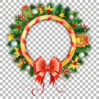 Kerst- en nieuwjaarskrans met geschenk, dennentakken, gouden streamer en snoep.