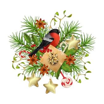 Kerst- en nieuwjaarssamenstelling met een geschenk