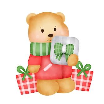 Kerst- en nieuwjaarswenskaart met een schattige teddybeer en geschenkdoos in aquarelstijl.
