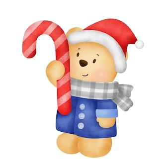 Kerst- en nieuwjaarswenskaart met een schattige teddybeer en kerstcadeau in aquarelstijl.