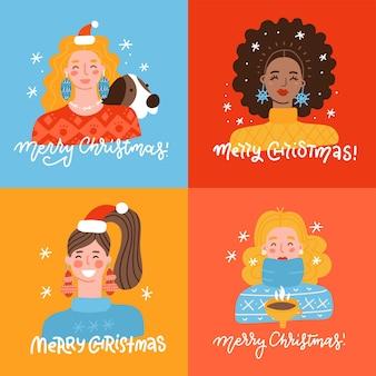 Kerst en oud en nieuw sjabloon set voor wenskaarten scrapbookinguitnodigingen tags stickers postca...