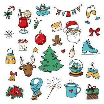 Kerst en winter doodles elementen gekleurde vectorelementen voor kerstmis