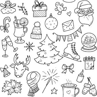 Kerst en winter doodles elementen vectorelementen voor kerst