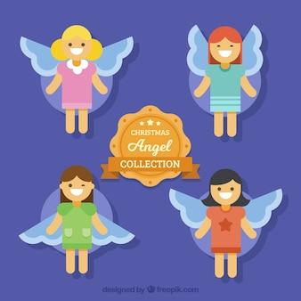 Kerst engel collectie in platte ontwerp