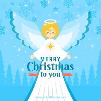 Kerst engel in een lange witte mantel