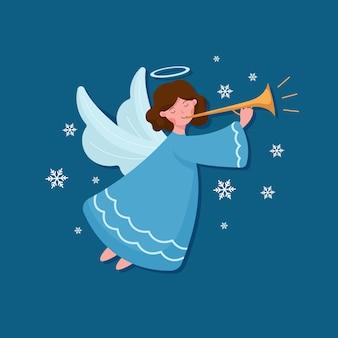 Kerst engel in plat ontwerp