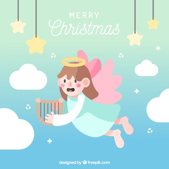 Kerst engel met roze vleugels