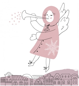 Kerst engel met trompet