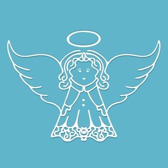 Kerst engel met vleugels en een halo gesneden uit papier. Premium Vector