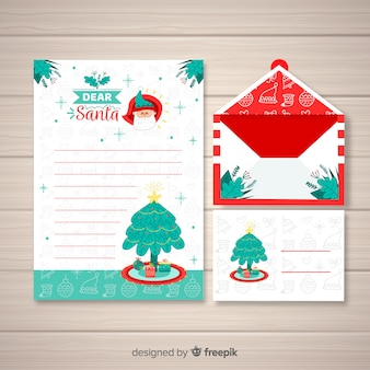 Kerst envelop en brief ontwerp in de hand getrokken stijl