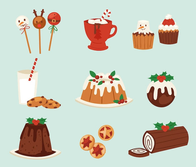 Kerst eten desserts vakantie decoratie xmas familie diner zoete viering maaltijd illustratie. traditionele feestelijke winter cake zelfgemaakte x-mas party